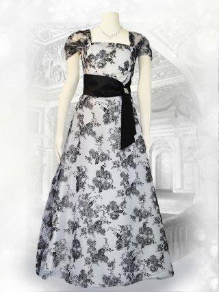 【Lサイズ】フロッキーホワイト*袖付きロングドレス演奏会ステージドレス