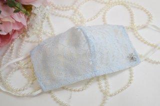 薄型夏仕様のライトブルー*シルクレースマスクモチーフ付*洗える!シルクコットン50%マスク☆コロナ対策・風邪・花粉対策・喉のケアに☆マスク