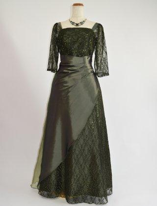 オリーブグリーン 7分袖ロングドレス 袖付きドレス 2864 演奏会ステージドレス