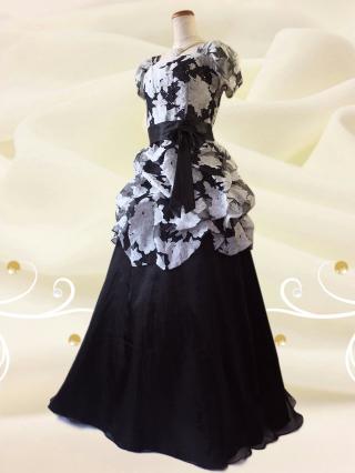 【大きいサイズ2L】牡丹ロングドレス 黒8779/演奏会・ラミューズドレス通販