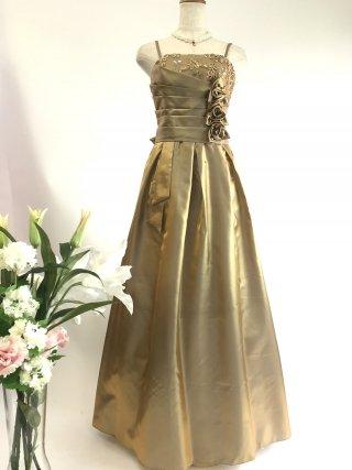 コードレースのロングドレス*ゴールド/ 演奏会 ラミューズドレス通販