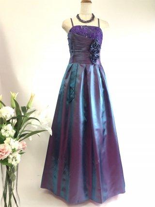コードレースのロングドレス*パープル/ 演奏会 ラミューズドレス通販