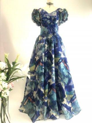 ブルー絵画ドレス★お袖付きステージドレス4053 ラミューズドレス演奏会