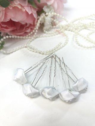 【ヘッドドレス】ホワイトローズ5本セット*Uピン/演奏会 ラミューズドレス通販