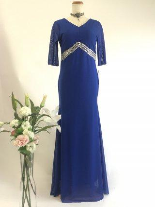 ゆったり 楽ちんドレス お袖付き ブルー4057*演奏会ロングドレス