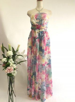 グラデーションカラー*ピンク*ショール付ロングドレス/ 演奏会 ラミューズドレス通販