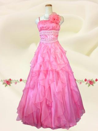 ヒロインドレス*コスモスピンク ロングドレス8437 演奏会 ラミューズドレス通販
