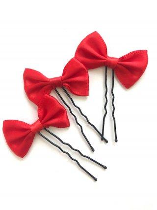【ヘッドドレス】リボン3本セット*赤レッド*Uピン/演奏会 ラミューズドレス通販