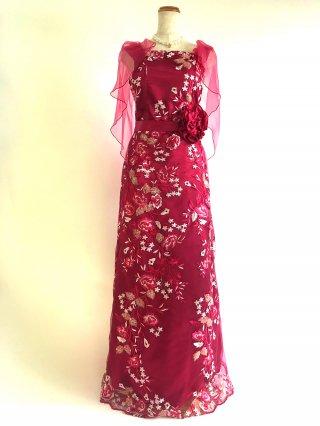 チェリーピンク♡ケープロングドレス3669/ 演奏会 ラミューズドレス通販