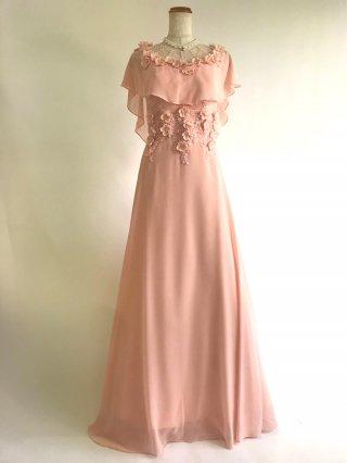 お袖付きケープ風ドレス 桜ピンク ロングドレス/ 演奏会 ラミューズドレス通販