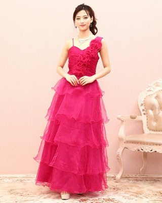 【Lサイズ】Pretty ティアードロングドレス6533  /ピンク 演奏会 ラミューズドレス通販