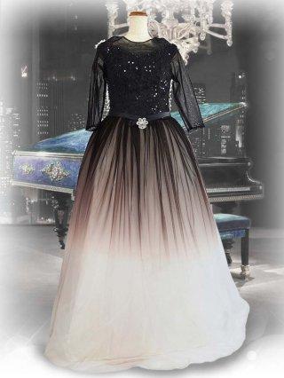 ブラックダイヤモンド*グラデーションロングドレス 袖付き 7961ラミューズドレス演奏会
