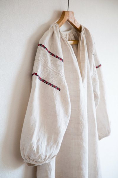 1920-40's Ukrainian hemp embroidered dress