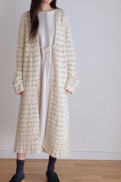 Crochet knitted long cardigan