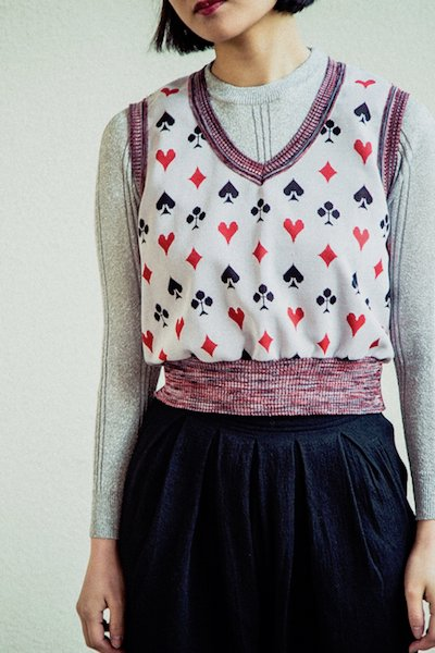 Playing card motif vest