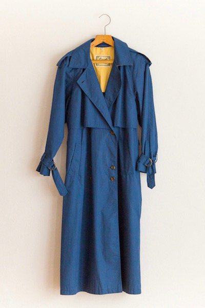 Maxi long blue trench coat