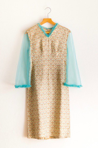 Peppermint blue net sleeve dress