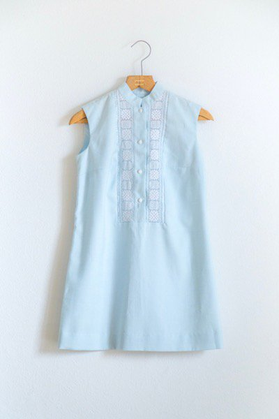 1970's Russian light blue mini dress