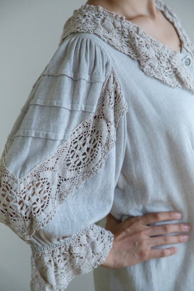 Crocheted lace trachten blouse