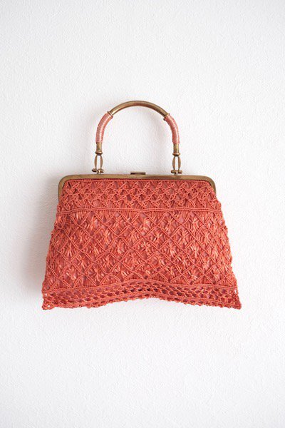 Golden metal hand salmon pink bag