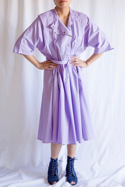 Purple stand collar dress