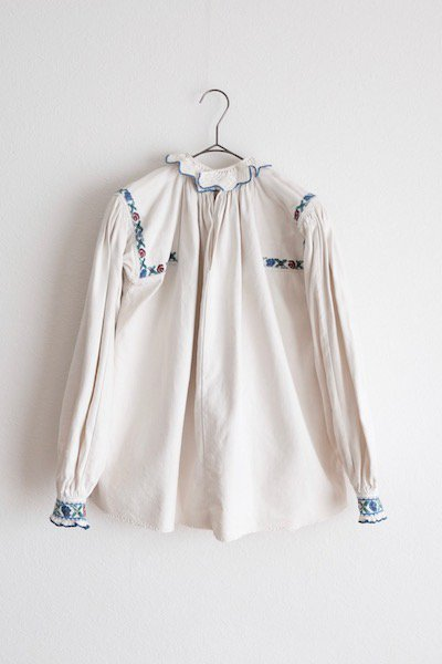 Romanian antique blouse with frill collar