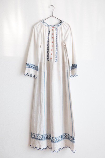 Romanian antique embroidered long dress