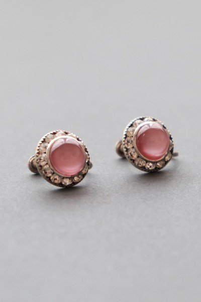 Vintage czech bijoux earrings - pink
