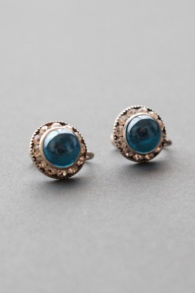 Vintage czech bijoux earrings - blue