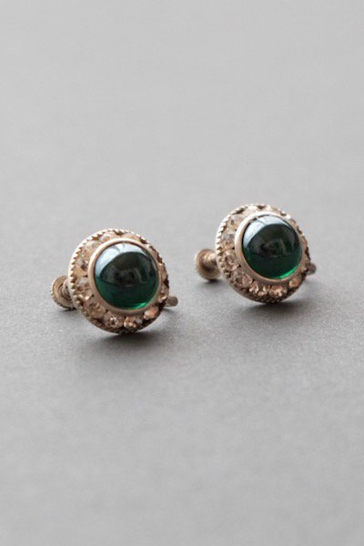 Vintage czech bijoux earrings - green