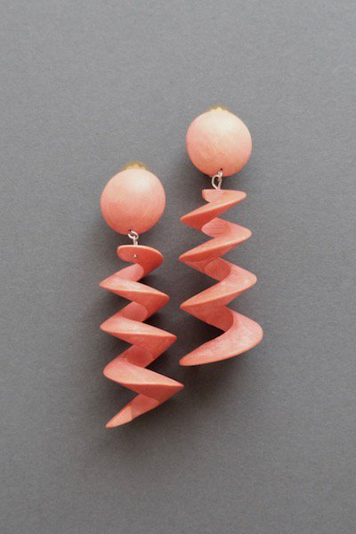 Spiral wooden earrings