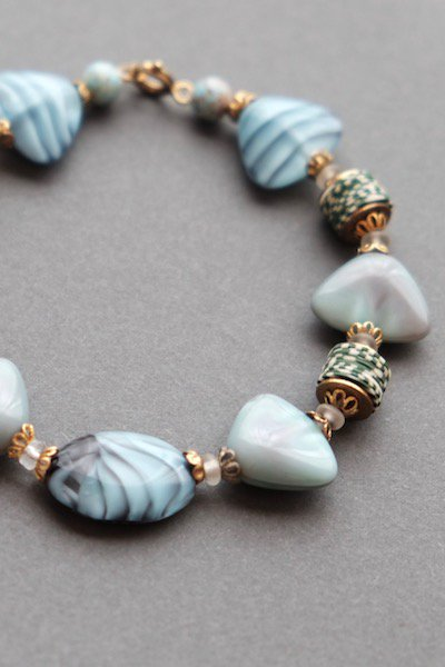 Vintage Czech glass bracelet - light blue