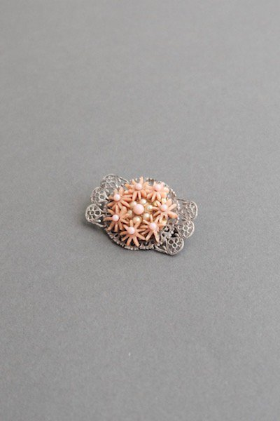 Antique Czech forgotten brooch - salmon