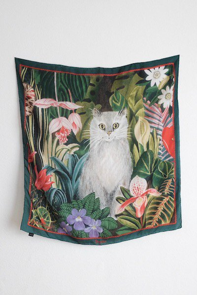 Tropical cat silk scarf