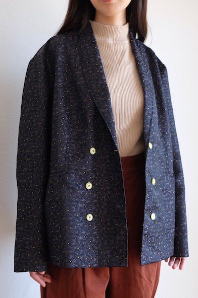 Night blue jacket with yellow buttons