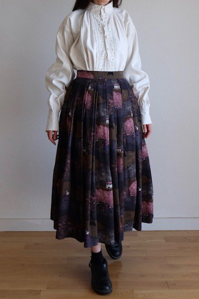 Farming village print dirndl wool skirt