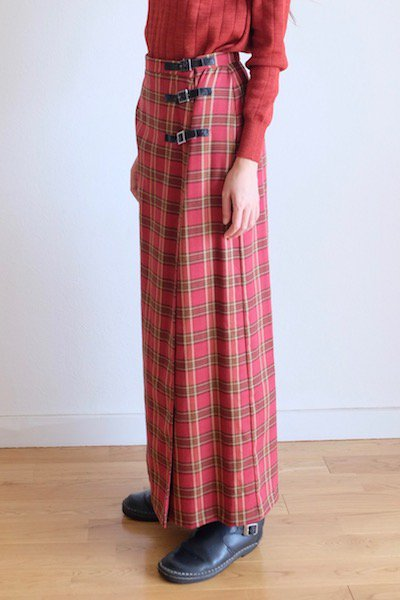Check wrap skirt with belts