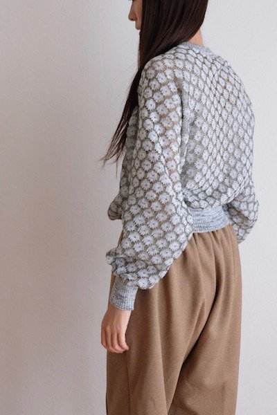 Sheer knit sweater with ribbed