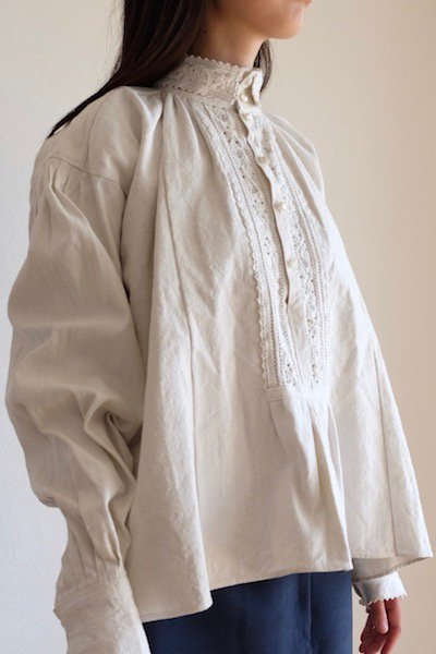Antique Romanian stand collar embroidered blouse