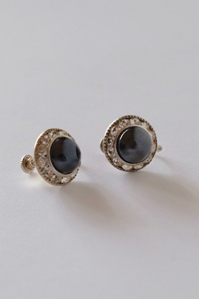 Vintage Czech bijoux earrings - black