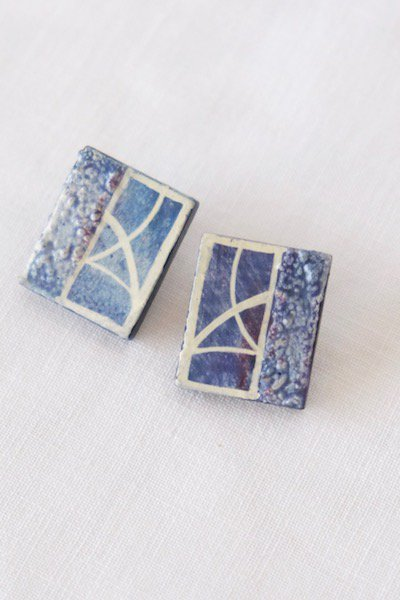 Vintage Czech ceramic square earings