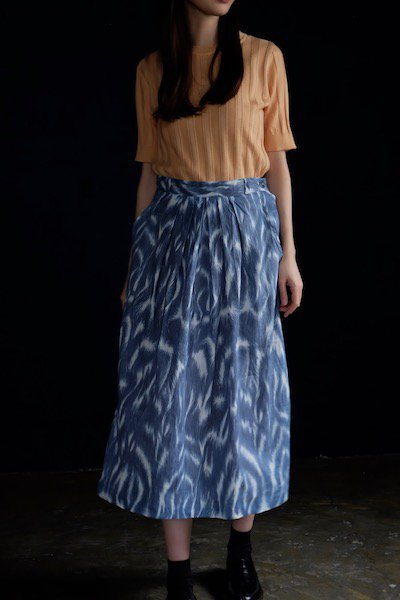 Blue-gray abstract pattern skirt made in Georgia