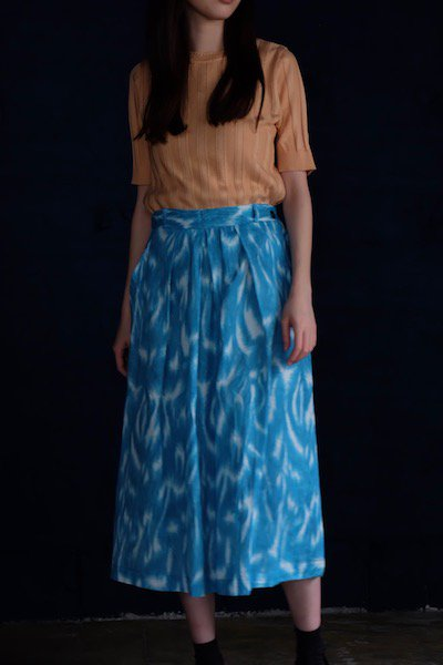 Aqua blue abstract pattern skirt made in Georgia