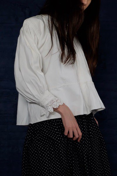 Transylvanian antique blouse with cotton lace collar