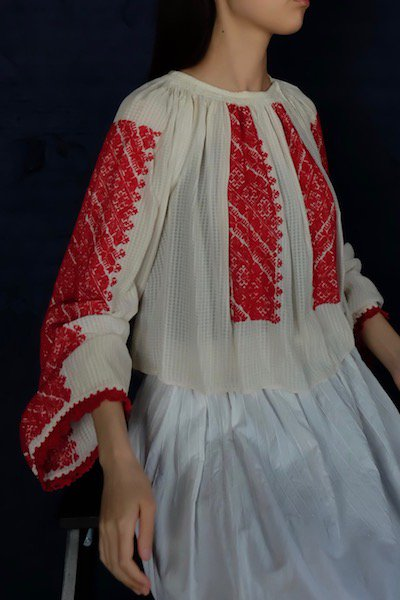 Antique Hungarian sheer embroidered blouse