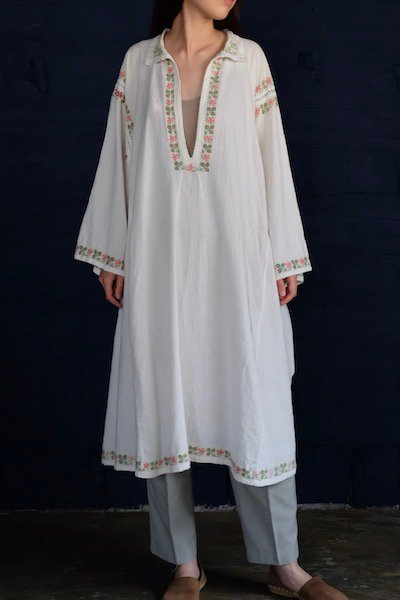 Romanian pastel flower embroidered dress
