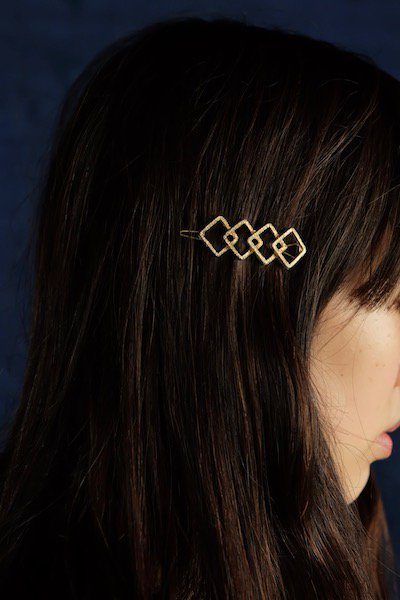 Golden four squares barrette