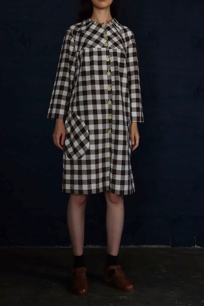Block check A-line dress