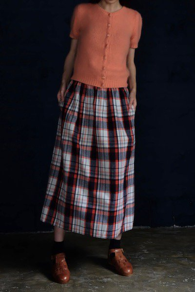 High waisted tartan midi skirt
