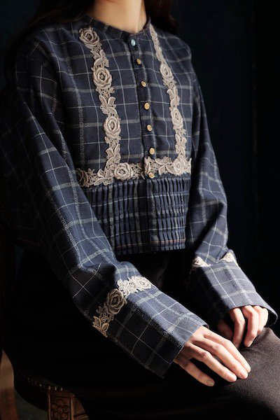 Moravian folk navy jackets with rose lace